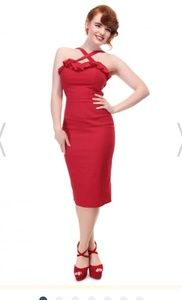 collectif mandy pin up red ruffle pencil dress